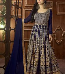 Buy Royal blue embroidered georgette salwar bollywood-salwar-kameez-online online