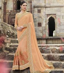 Buy orange embroidered georgette saree With Blouse bridal-saree online