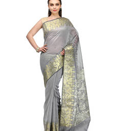 Buy Grey woven super net saree with blouse supernet-saree online