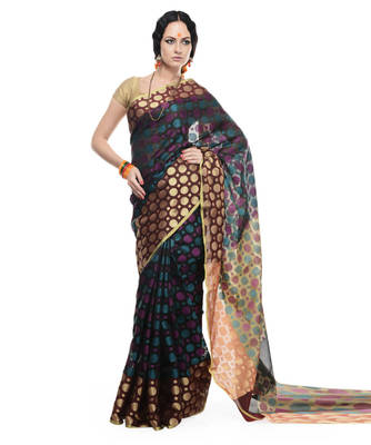 Black woven super net saree with blouse