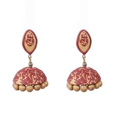 Buy Antique gold mehroon polymer clay jhumkas terracotta-jewelry online
