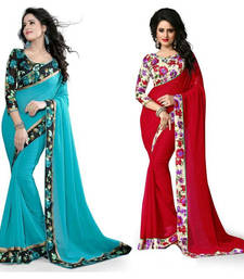 Buy Multicolor plain georgette saree with blouse georgette-saree online