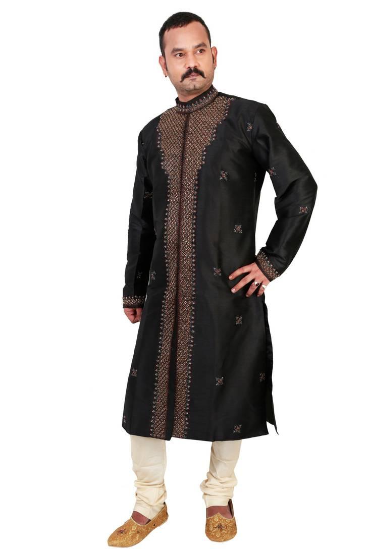 Buy Black Embroidered Silk Kurta Payjama Online