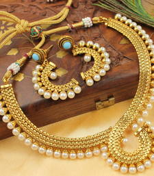 Buy BEAUTIFUL ANTIQUE NECKLACE SET - DJ05486 south-indian-jewellery online