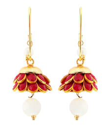 Buy Cute Red n Golden Rajasthani Graceful Brass Earrings hoop online