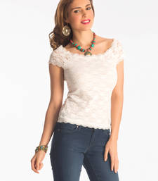 Buy Snow white lace bodycon top party-top online