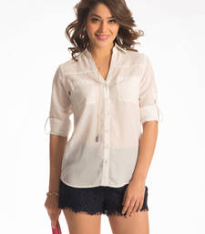 """Buy Snow white """"am to pm"""" button down shirt top online"""