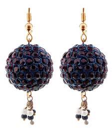 Buy Handmade Brown Lac Ball Jhumka Set hoop online