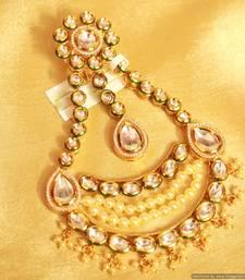 Buy Kundan meenakari pearl bridal jhoomar pakistani-jewellery online