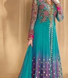 Buy Multicolor net embroidered unstitched salwar with dupatta salwar-kameez-below-2000 online