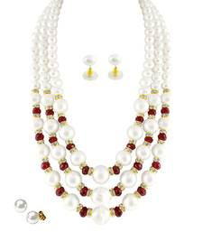 Buy Shell pearl White semi precious gemstone-necklaces gemstone-necklace online