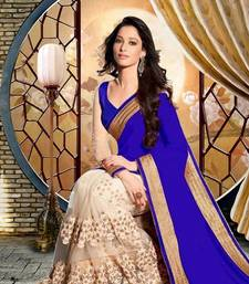 Buy Holliy Festival Blue & Cream embroidered georgette saree with blouse party-wear-saree online