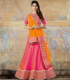Buy Pink embroidered jacquard unstitched lehenga ethnic-lehenga online