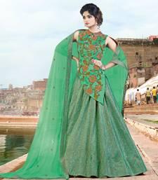 Buy Green embroidered jacquard unstitched lehenga ethnic-lehenga online