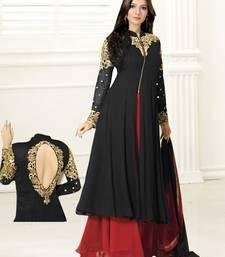 Buy Black georgette embroidered semi stitiched anarkali dress anarkali-salwar-kameez online
