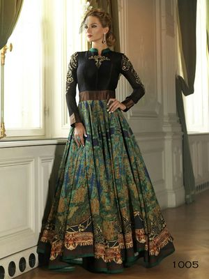 Buy Green Cotton Silk Printed Semi Stitiched Indian Party