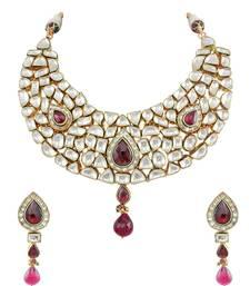 Buy Red Jadau Kundan Necklace Set Jewellery for Women - Orniza necklace-set online