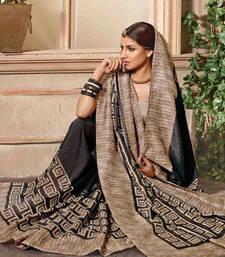 Buy Black printed bhagalpuri silk saree with blouse kriti-sanon-saree online