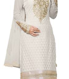 Buy White embroidered Faux Georgette unstitched salwar with dupatta dress-material online