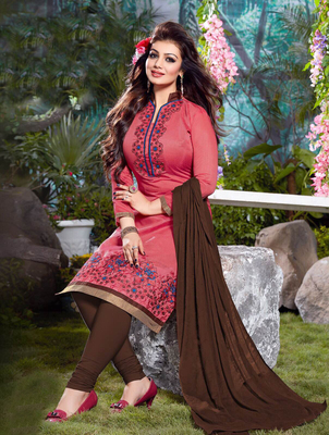 Pink and brown cotton embroderied semi stitched salwar with dupatta