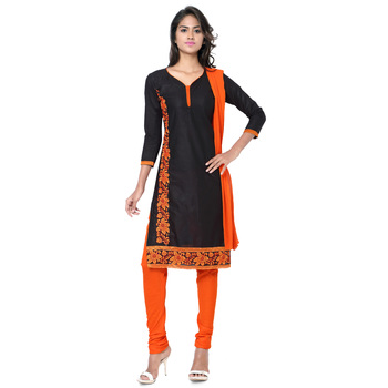 Black and orange cotton embroderied semi stitched salwar with dupatta