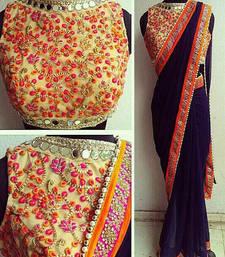 Buy Blue embroidered georgette saree wedding-saree online