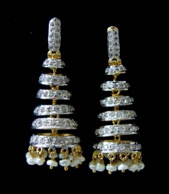 AD WHITE STONE STUDDED JHUMKA WITH PEARLS HANGINGS