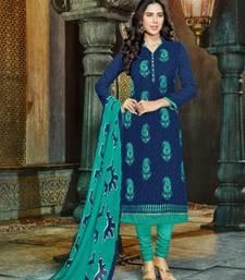 Buy Blue embroidered cotton salwar cotton-salwar-kameez online