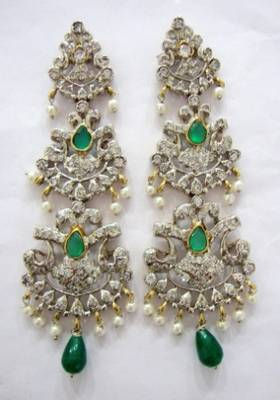 ANTIQUE VICTORIAN WHITE N GREEN STONE STUDDED PEARLS HANGINGS