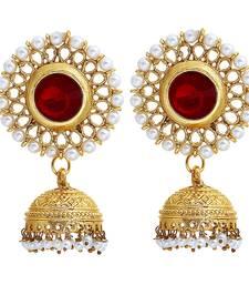 Buy Red crystal jhumkas jhumka online