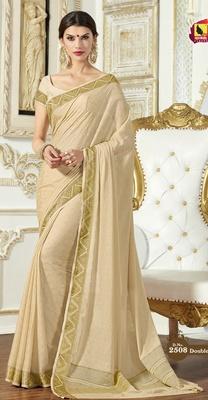 cream plain crepe saree with blouse