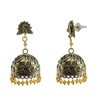 gemstone Religious Peacock Jhumki With Citrine Crystals-Antique Jhumka-Punjabi Wedding jewellery