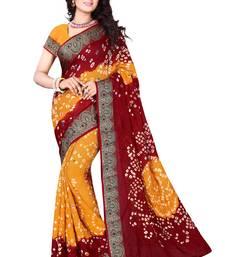 Buy Maroon printed cotton silk saree with blouse bandhani-sarees-bandhej online