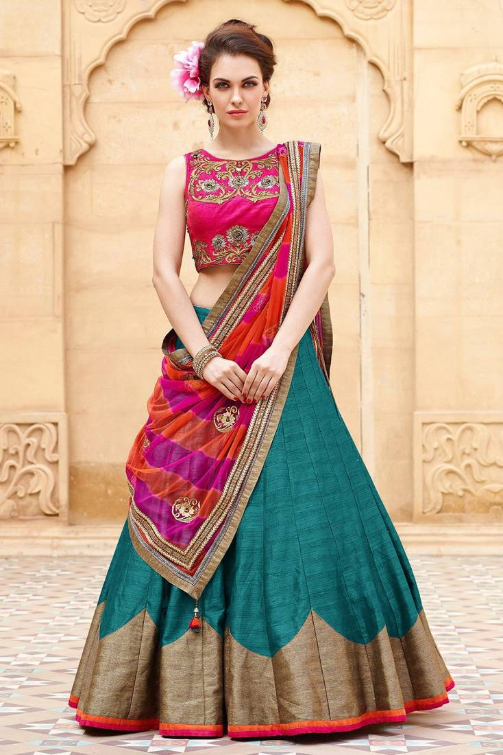 Buy Teal Embroidered Silk Semi Stitched Lehenga Online