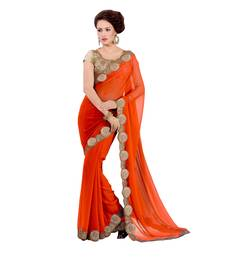 Buy orange embroidered georgette saree with blouse Woman online