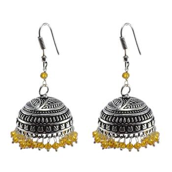 gemstone Tribal Jhumka With Citrine Crystals-Antique Silver Polished Jhumka-Punjabi Wedding jewelry