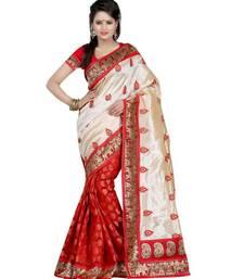Buy Cream Embroidery ethnic-saree online