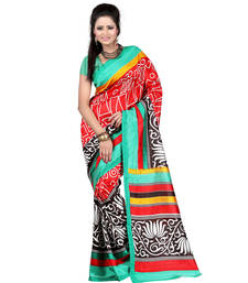 Buy Multicolor printed art silk saree with blouse traditional-saree online