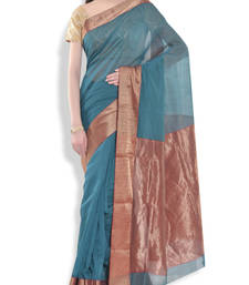 Buy Green embroidered chanderi saree with blouse chanderi-saree online