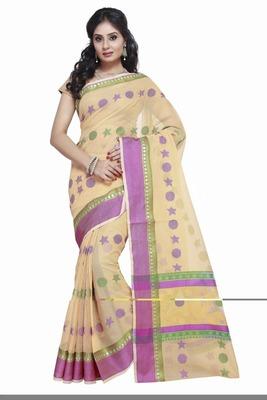 Yellow embroidered kota silk saree with blouse