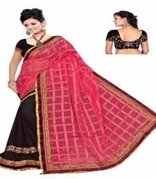Buy gudi padwa saree Pink embroidered georgette saree with blouse ikat-saree online