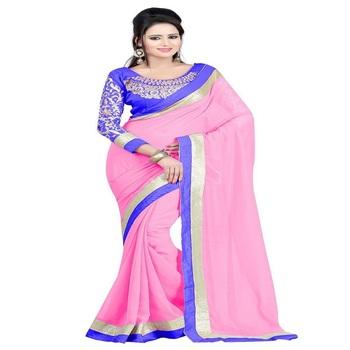 gudi padwa saree Pink georgette saree with blouse