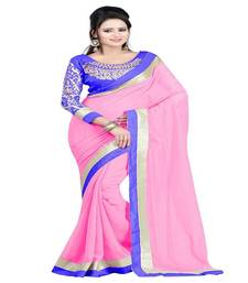 Buy Pink Plain Sarees georgette-saree online