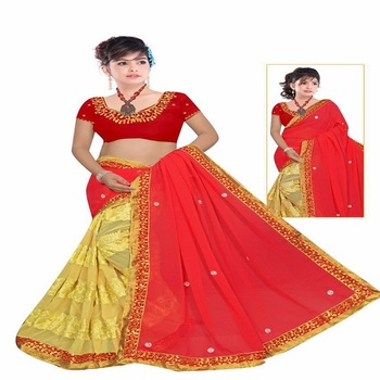 hand work saree embroidered georgette saree with blouse