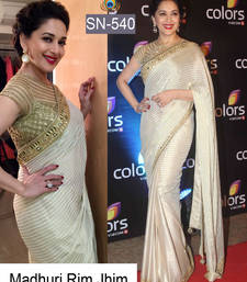 Buy Cream embroidered net saree with blouse bollywood-saree online