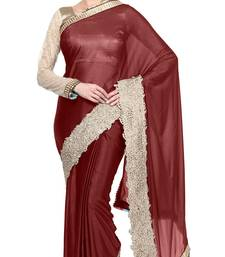 Buy Brown printed georgette saree with blouse diwali-discount-offer online