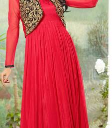 Buy Red Embroidered Net Semi-stitched Evening wear Gown with Jacket & dupatta party-wear-gown online