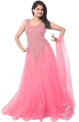 Women's Pink Net Embroidered Semi-Stitched Gown Dress Material.