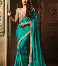 Buy Blue embroidered silk saree with blouse designer-embroidered-saree online