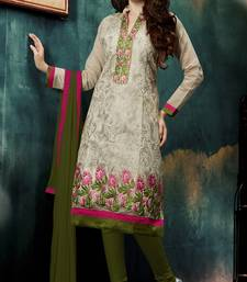 Buy Beige Chanderi Embroidred Straight Suit Dress Material dress-material online